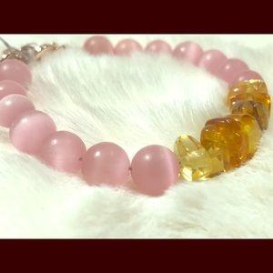 Genuine Amber and Pink Quartz Bracelet